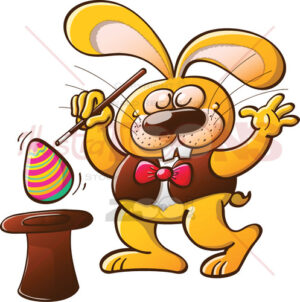 Magician bunny getting an Easter egg from a hat - illustratoons