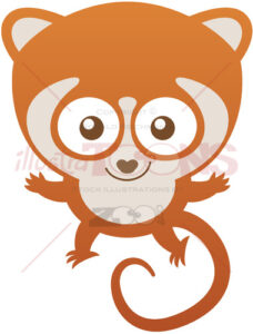 Mischievous baby lemur greeting and welcoming - illustratoons