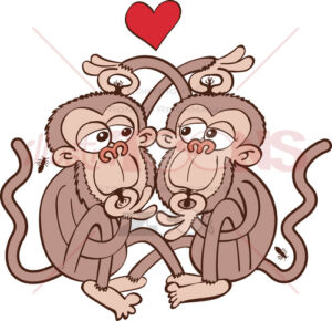 Monkeys couple looking for lice and falling in love - illustratoons
