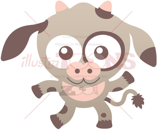 Nice baby cow smiling and waving animatedly - illustratoons