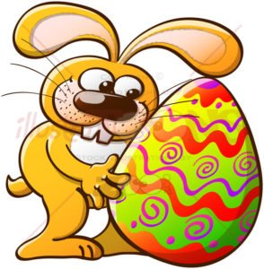 Nice bunny hugging an enormous Easter egg - illustratoons