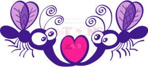 Purple mosquitoes falling in love - illustratoons