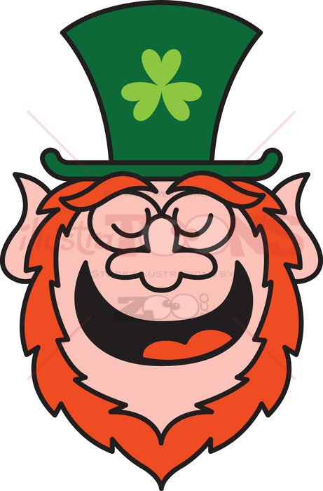 Saint Patrick's Day Leprechaun feeling proud and smiling - illustratoons