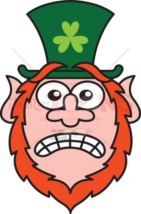 Saint Patrick's Day Leprechaun feeling scared - illustratoons