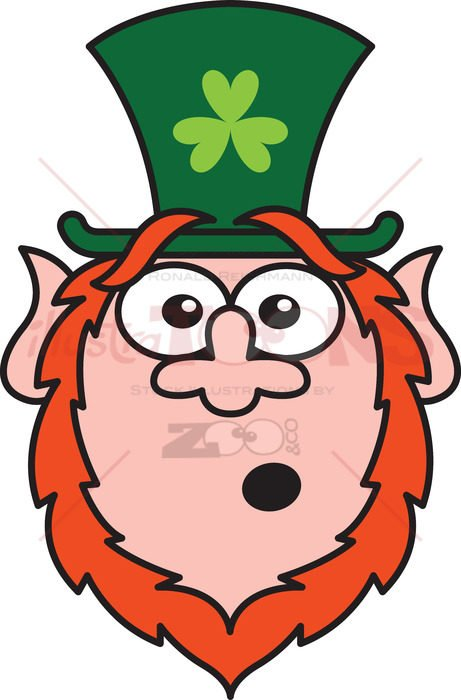 St Paddy's Day Leprechaun feeling surprised - illustratoons