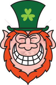 St Paddy's Day Leprechaun grinning from ear to ear - illustratoons