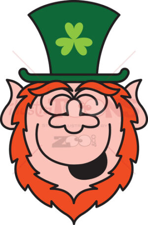 St Paddy's Day Leprechaun laughing enthusiastically - illustratoons