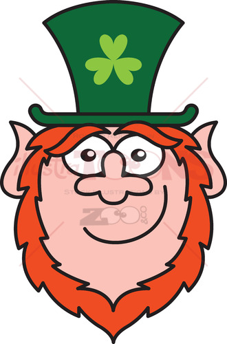 St Paddy's Day Leprechaun smiling while staring at you - illustratoons
