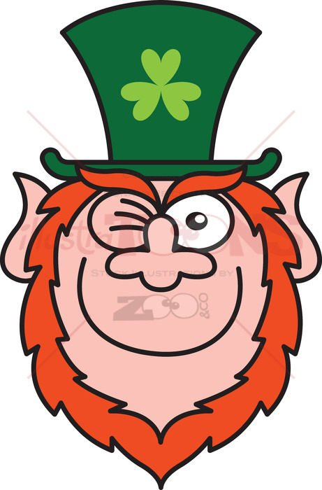 St Paddy's Day Leprechaun winking mischievously - illustratoons