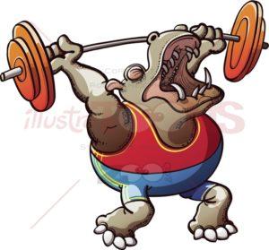 Strong hippopotamus lifting weights - illustratoons
