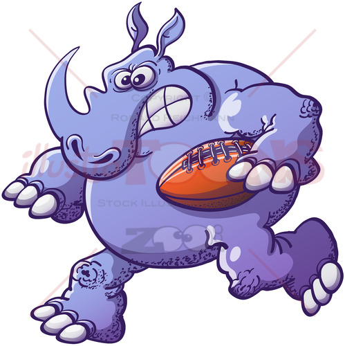 Terrific rhinoceros playing rugby - illustratoons