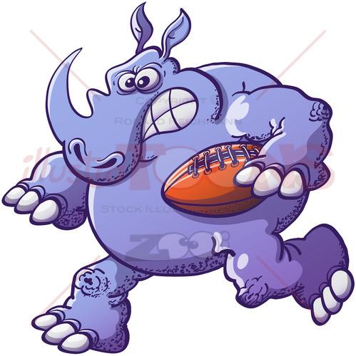Terrific rhinoceros playing rugby - illustratoons