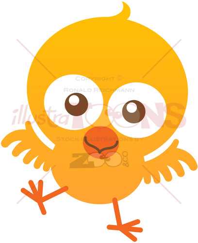 Yellow baby chicken smiling and flapping to welcome you - illustratoons