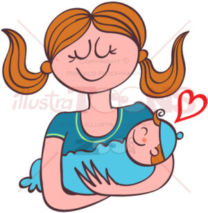 Adorable mom holding her baby boy in her arms - illustratoons