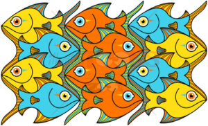 Colorful fishes forming a seamless pattern - illustratoons