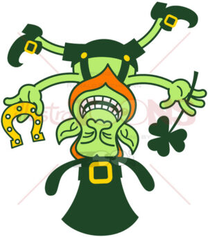 Crazy Leprechaun standing on his head while holding a clover and a horseshoe - illustratoons