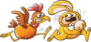 Easter bunny stealing eggs from a furious hen - illustratoons