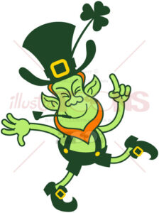 Green Leprechaun dancing in honor to Saint Patrick's Day - illustratoons