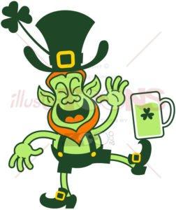 Leprechaun balancing a beer mug with his foot - illustratoons