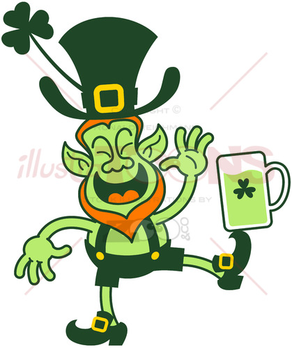 Leprechaun balancing a beer mug with his foot - illustratoons