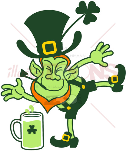 Leprechaun having fun by throwing mugs of beer - illustratoons