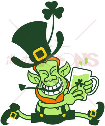 Leprechaun running away with a mug of beer - illustratoons