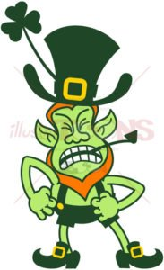 Saint Patrick's Day Leprechaun feeling furious - illustratoons