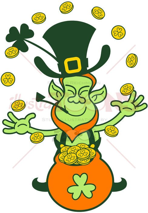 Saint Patrick's Day Leprechaun juggling gold coins - illustratoons