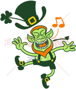 Saint Patrick's Day Leprechaun singing animatedly - illustratoons