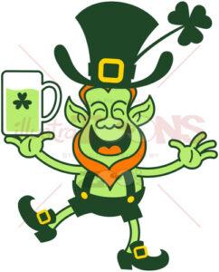 Smiling Saint Patrick's Day Leprechaun juggling beer - illustratoons