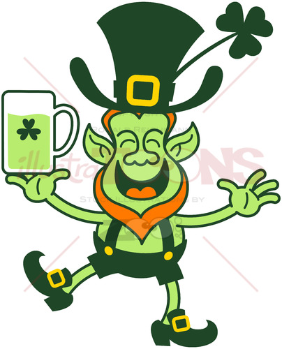 Smiling Saint Patrick's Day Leprechaun juggling beer - illustratoons