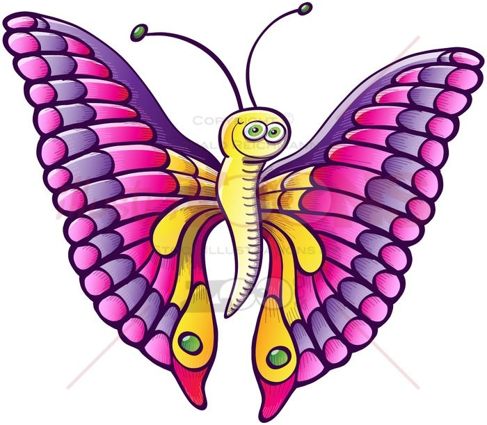Smiling colorful butterfly displaying its wings - illustratoons