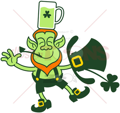 St Paddy's Day Leprechaun keeping balance with a mug of beer on his head - illustratoons