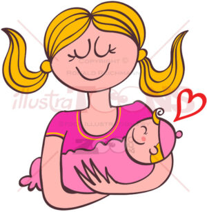 Sweet mom holding her baby girl in her arms - illustratoons