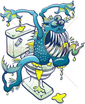 Terrific toilet monster coming out from sewage - illustratoons
