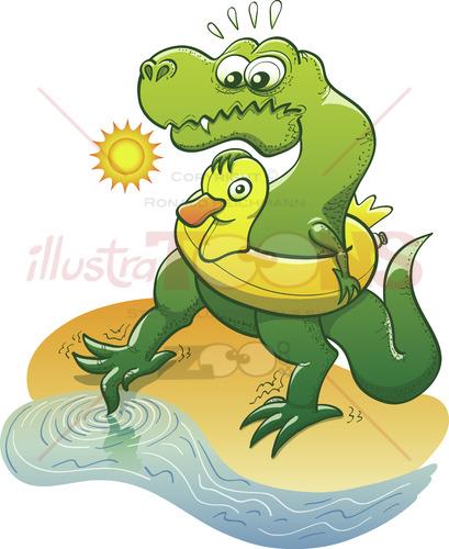 Timorous Tyrannosaurus Rex dipping toe into water 6980
