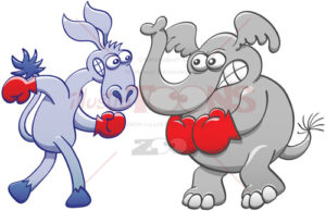 Elephant and donkey preparing for a boxing match - illustratoons