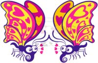 Beautiful butterflies madly falling in love - illustratoons