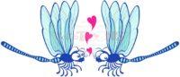 Blue dragonflies tenderly falling in love - illustratoons
