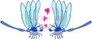 Blue dragonflies tenderly falling in love - illustratoons
