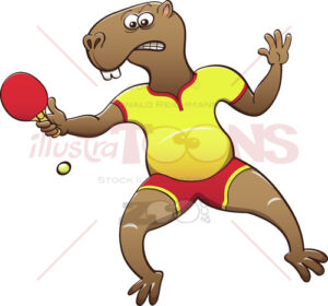 Capybara playing table tennis - illustratoons