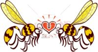 Couple of beautiful wasps irremediably falling in love - illustratoons