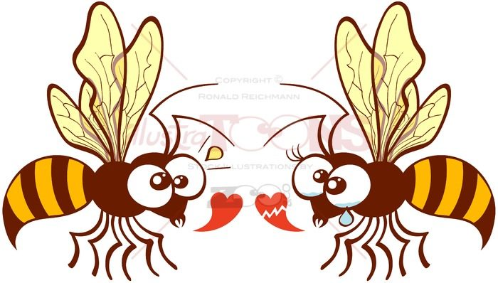 Couple of bees expressing love feelings - illustratoons