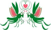 Green grasshoppers deeply falling in love - illustratoons