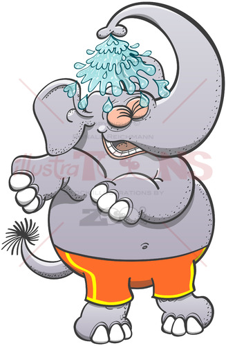 Cool elephant taking a refreshing shower - illustratoons