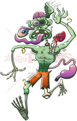 Distressed zombie running while his body falls apart - illustratoons