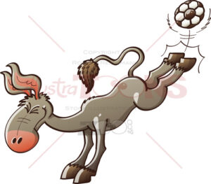 Donkey playing soccer and powerfully kicking the ball - illustratoons