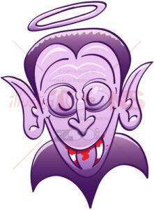 Dracula looking innocent while having blood on his teeth - illustratoons