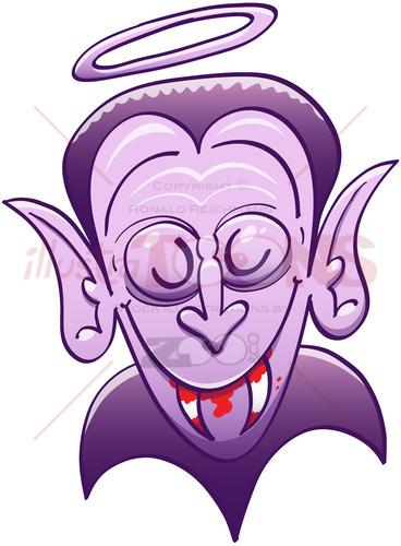 Dracula looking innocent while having blood on his teeth - illustratoons