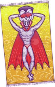 Dracula sunbathing and enjoying holidays - illustratoons
